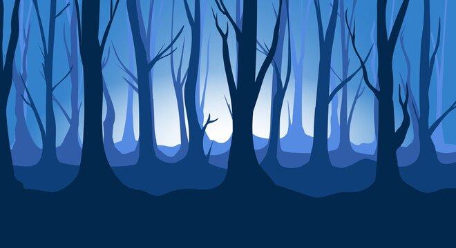 Twilight forest backdrop