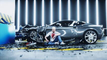 Obraz Human crash test dummy sitting near destroyed car crash test. Future concept. 3d rendering. - fototapety do salonu