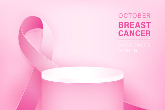 Podium mockup for product display with breast cancer awareness ribon in pink background