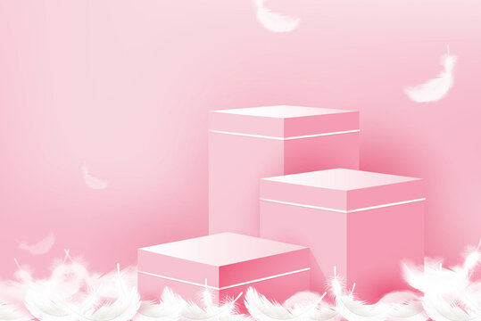 3 step podium mockup for product display in pink background for October breast cancer awareness month campaign
