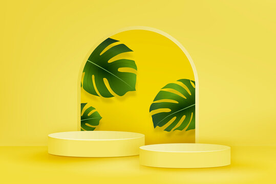 2 step podium mockup on summer yellow background with green monstera leaves for product display, vector illustration
