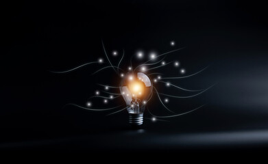 Creative ideas and innovations. Light bulbs glowing on a black background. with copy space for business design