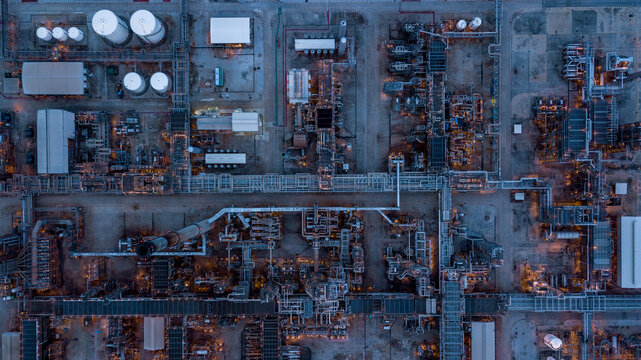 Aerial top view oil refinery and gas refinery, Business petrochemical industrial, Refinery oil and gas factory power and fuel energy.
