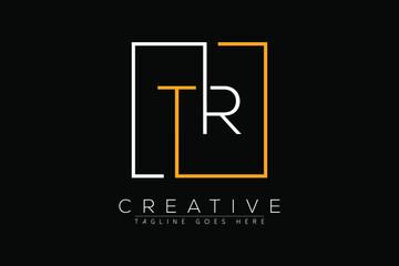 Obraz Initial letter tr, rt, t, r elegant and luxury Initial with Rectangular frame minimal monogram logo design vector template - fototapety do salonu