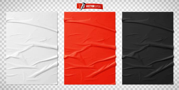 Textures de papiers collés vectorielles sur fond transparent