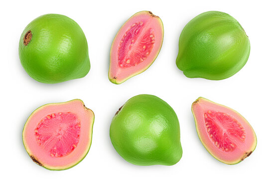 Guava fruit with slices isolated on white background with clipping path and full depth of field. Top view. Flat lay. Set or collection