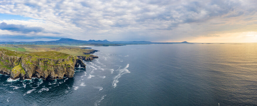 Aerial view of the Marble Arch in County Donegal - Ireland