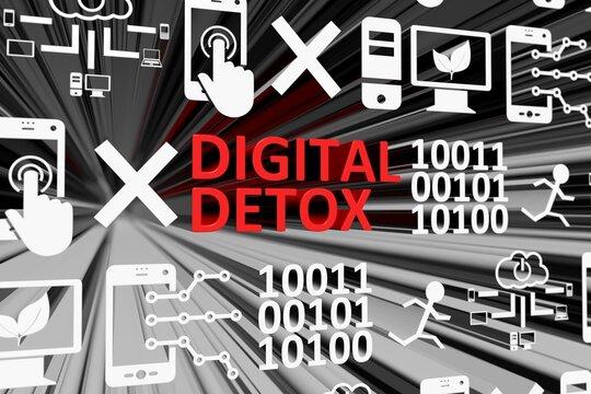 DIGITAL DETOX concept blurred background 3d render illustration
