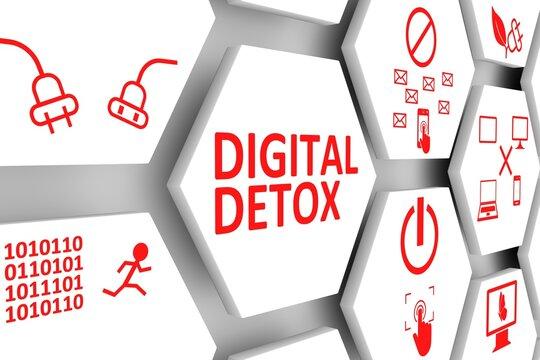 DIGITAL DETOX concept cell background 3d illustration