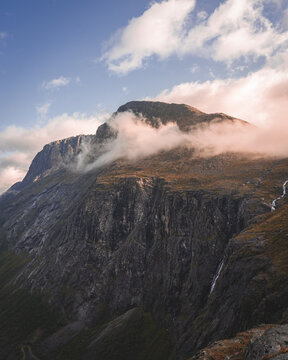 Morning Sun in Norway over a mountain