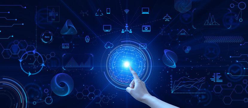 テクノロジーとインターフェースのホログラムの地球のイラストと指をさすビジネスマンの指