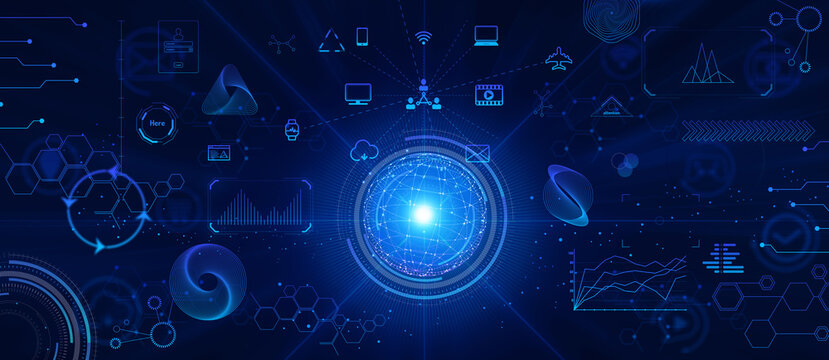 テクノロジーとインターフェースのホログラムのCGデザイン