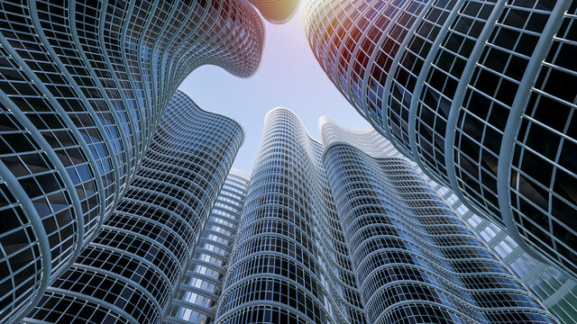 3D rendering glass buildings on blue sky background.