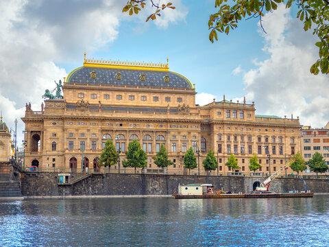 Prague, Czech Republic - August 30, 2021: Prague National Theater on sunny day