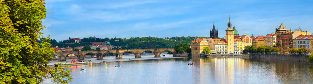View of Charles Bridge and panoramic of Prague , Czech Republic. popular tourist attraction. Travel and sights of city breaks. landmarks, travel guide and postcard. Prague banner