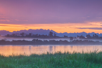 Landscape in the morning at Mekong river, border of Thailand and Laos, Nakhon Phanom province,Thailand.