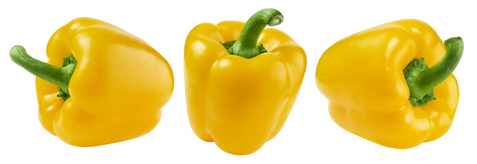 Fototapeta Yellow sweet bell pepper isolated on white background, collection obraz