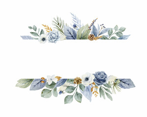 Fototapeta A watercolor vector Christmas banner with dusty blue flowers and branches. obraz