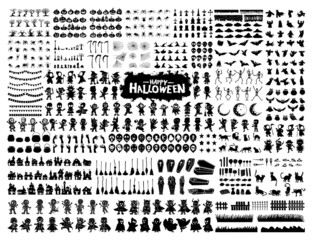 Obraz Halloween silhouette character set collection for celebration, template and decoration - fototapety do salonu