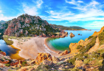 Fototapeta Fantastic view of Li Cossi beach on Costa Paradiso resort. obraz