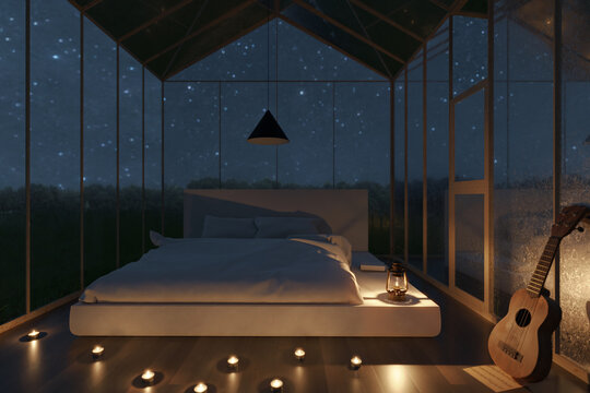 3d rendering of cozy greenhouse with white bed and illuminated candles at night