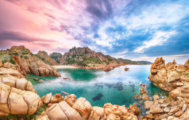 Obraz Breathtaking view of Li Cossi beach on Costa Paradiso resort. - fototapety do salonu