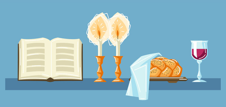 Shabbat Shalom background with religious objects. Background with Jewish symbols. Judaism concept illustration.