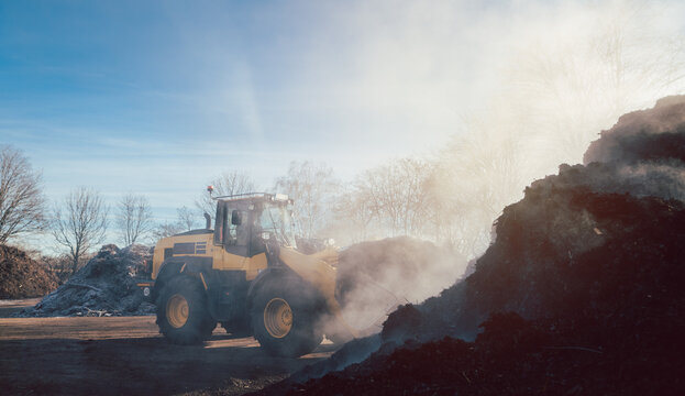 Bulldozer working on heavy earthworks in biomass facility