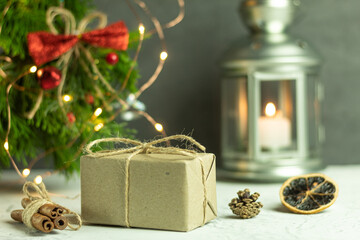 A Christmas gift wrapped in eco paper