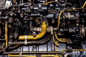 Fototapeta Turbina, silnik i części do samolotów, technologia lotnicza  obraz