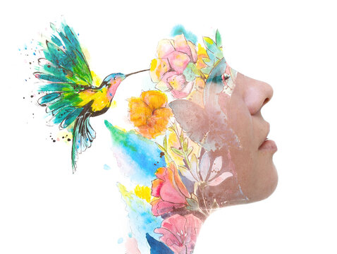 Sensual paintography of a young woman combined with a painting of flowers and a hummingbird
