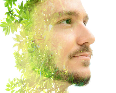 Photo of green bright plants and portrait of a young man