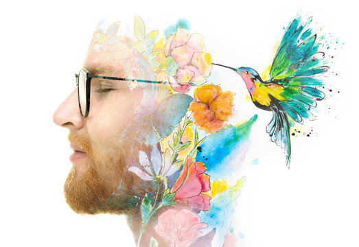 A portrait of a man combined with a painting in a double exposure technique