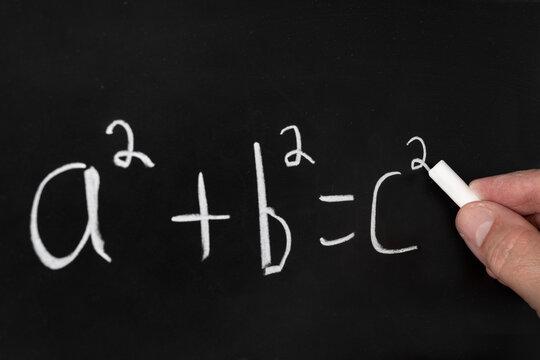 Pythagorean theorem on chalkboard