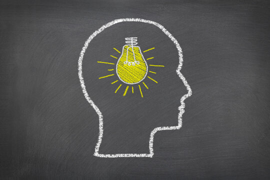 Human head and lightbulb.