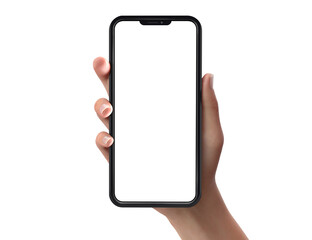Fototapeta Woman hand holding a smartphone with blank screen for presentation- 3d render obraz