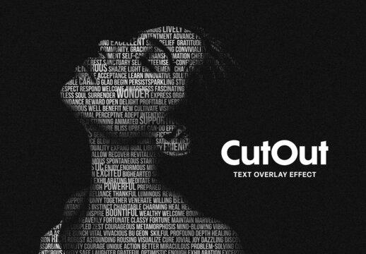 Cut Out Text Portrait Photo Effect Mockup