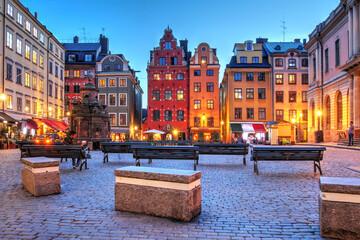 Fototapeta Stortorget, Stockholm, Sweden during a summer evening obraz