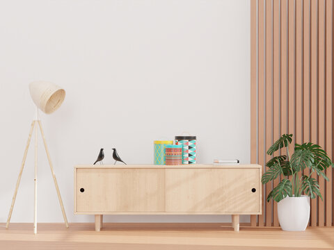 Living Room And White Wall, And Wooden Sideboard, Minimal Style ,mock Up And Copy Space Wall