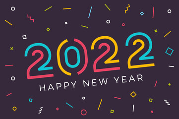 Fototapeta Vector Happy new year 2022 background with retro geometric colorful text and explosion of geometric shapes. For seasonal holiday web banners, flyers and festive posters obraz