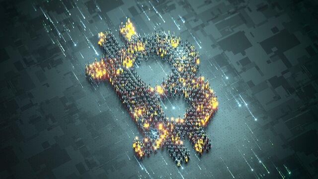 Bitcoin symbol. 3D rendering illustration