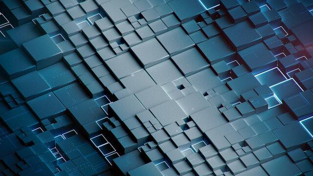 Blue cubic shapes 3D rendering