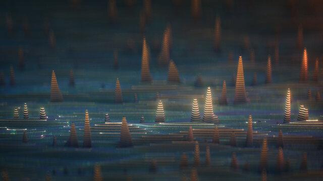 Sine signal curves 3D rendering illustration