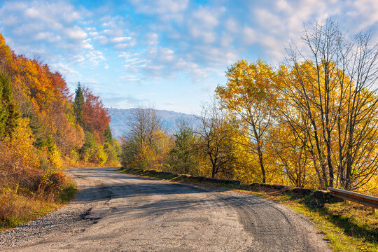 old mountain road in morning light. trees in colorful foliage along the serpentine. explore countryside concept