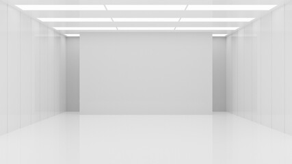 Fototapeta White clean empty architecture interior space room studio background wall display products minimalistic. 3d rendering. obraz