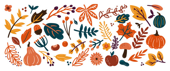 Obraz Cute autumn background vector. Autumn shopping event illustration wallpaper with hand drawn icons set. This design good for banner, sale poster, packaging background and greeting card. - fototapety do salonu