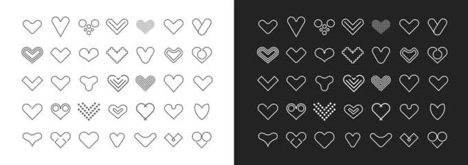 White on a dark grey and grey on a white backgrounds Hearts line art vector icon set. Decorative design elements. Large bundle of heart shapes. Can be used as a logo.