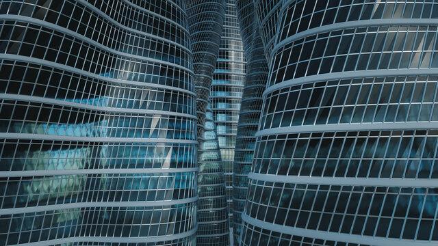 3D rendering glass buildings background.
