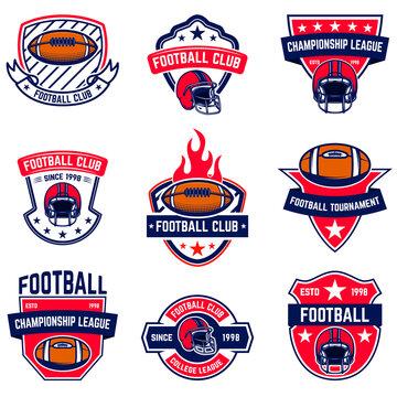Set of american football emblems. Design element for poster, t shirt, logo, emblem, sign. Vector illustration