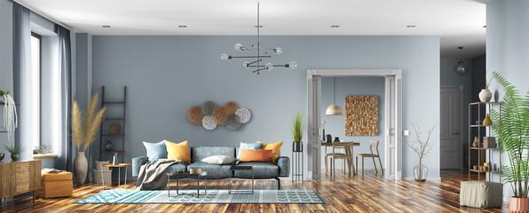 Fototapeta Interior design of modern apartment, living room and dining room. Home design. Panorama 3d rendering obraz